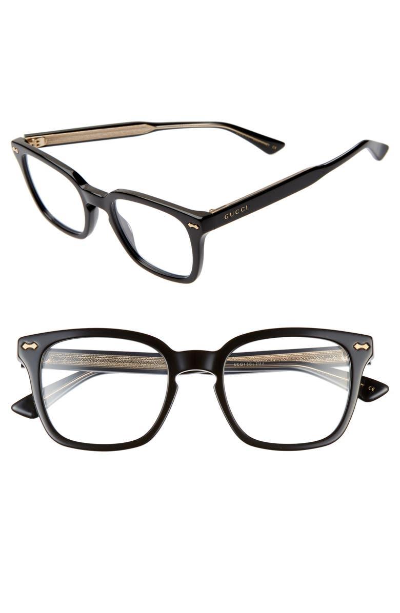 GUCCI 50mm Square Optical Glasses, Main, color, BLACK