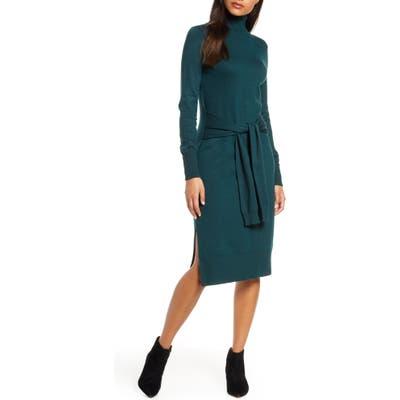 Eliza J Long Sleeve Turtleneck Sweater Dress, Green