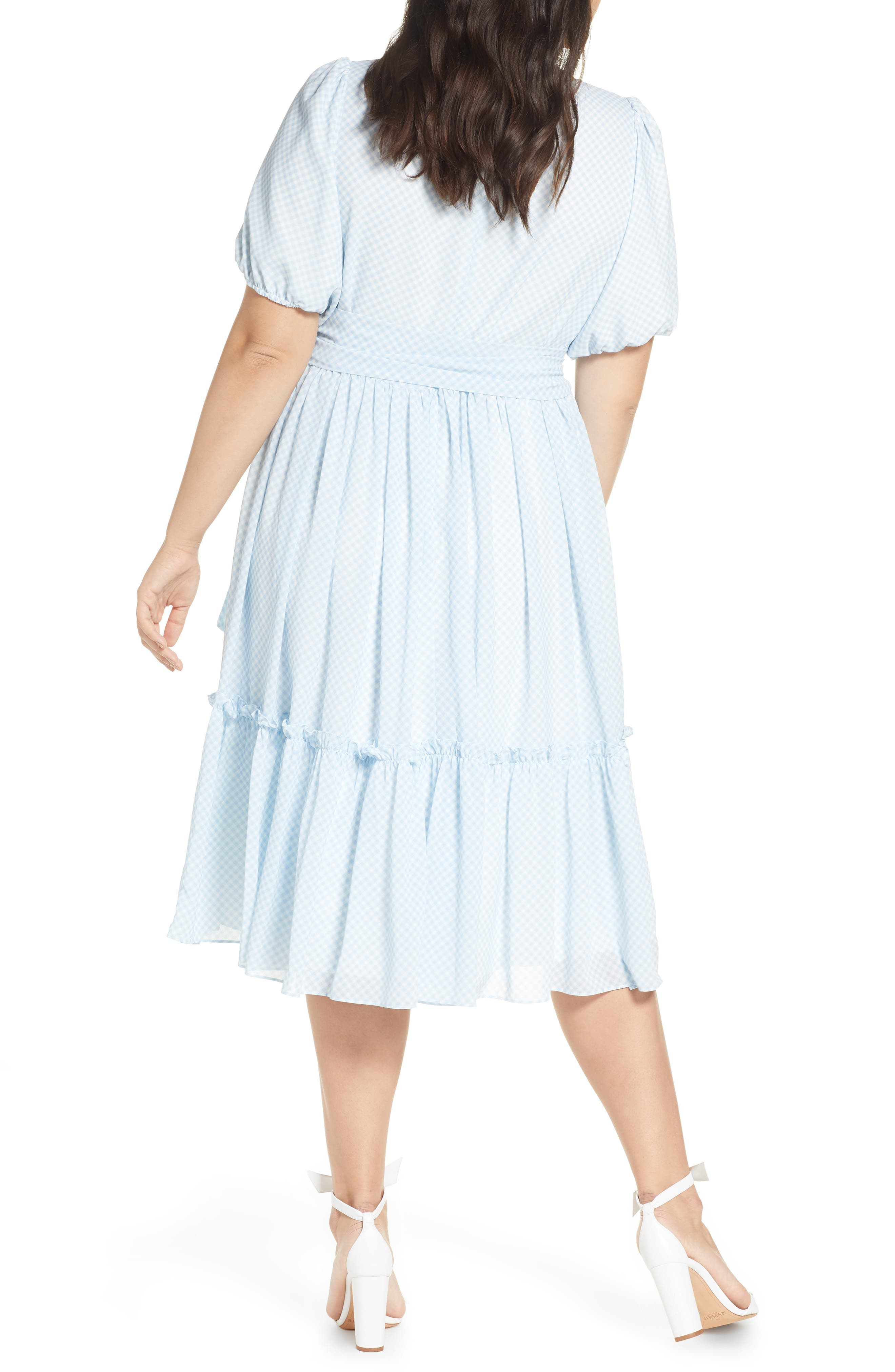 ,                             Gingham Puff Sleeve Dress,                             Alternate thumbnail 5, color,                             BLUE SKYWAY GINGHAM