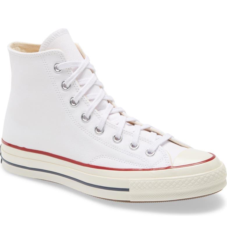 CONVERSE Chuck Taylor<sup>®</sup> All Star<sup>®</sup> 70 High Top Sneaker, Main, color, WHITE/ GARNET/ EGRET