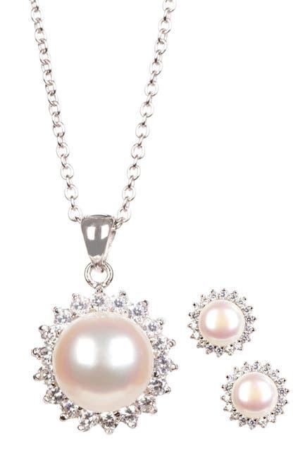 Image of Splendid Pearls 8.5-9mm White Freshwater Pearl & CZ Halo Pendant Necklace & Stud Earrings Set