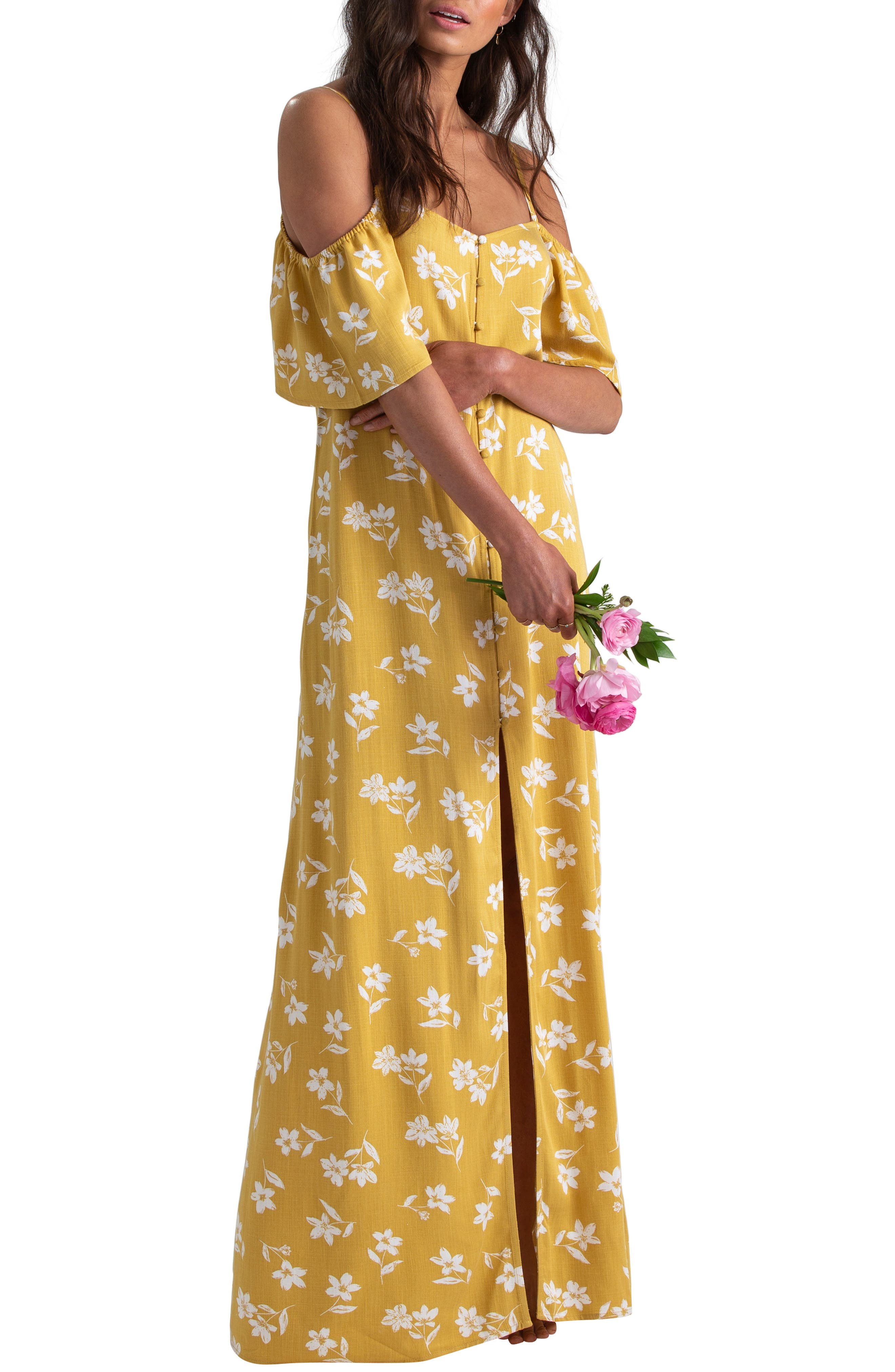 Billabong X Sincerely Jules Cold Shoulder Sway Maxi Dress, Yellow