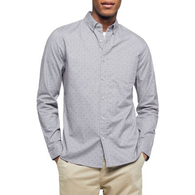 Topman Classic Fit Button-Down Oxford Shirt, Grey