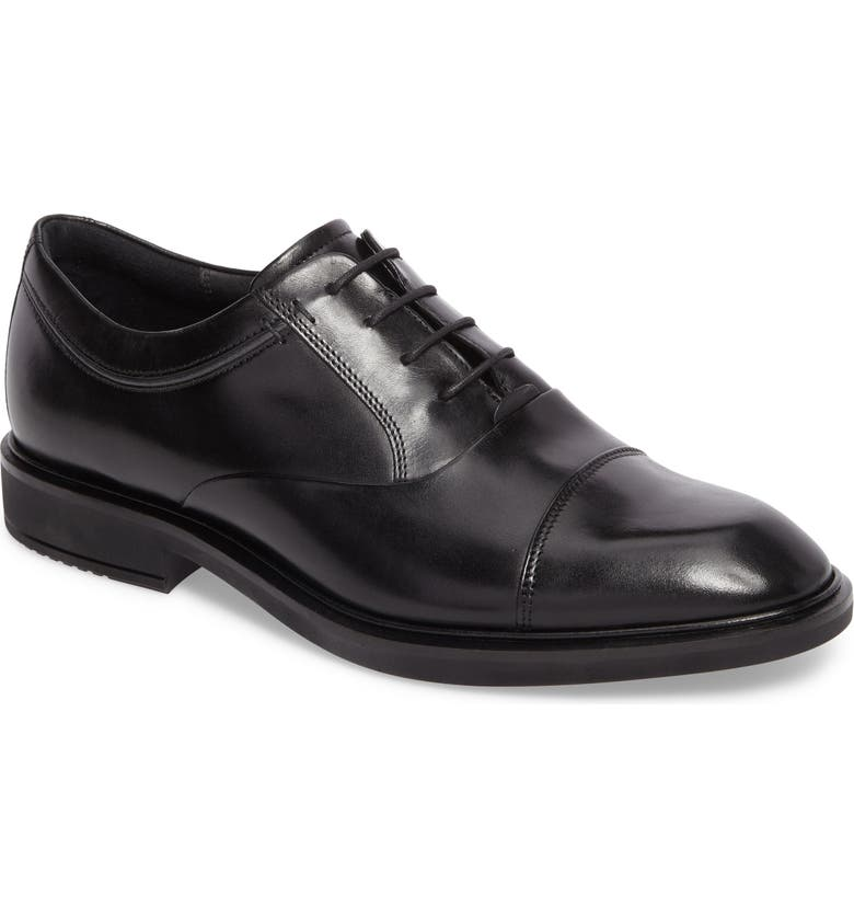 ECCO Vitrus II Cap Toe Oxford, Main, color, BLACK LEATHER