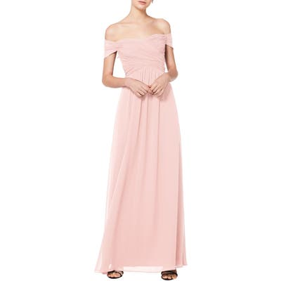 #levkoff Off The Shoulder Ruched Bodice Chiffon Evening Dress, Pink