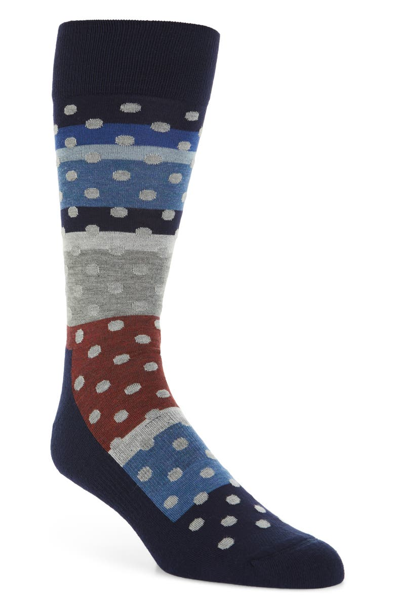 NORDSTROM MEN'S SHOP Dot & Stripe Socks, Main, color, NAVY/ RED