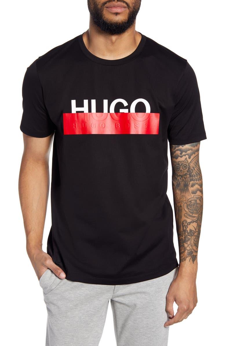 HUGO Dolive193 Redacted Logo T-Shirt, Main, color, BLACK