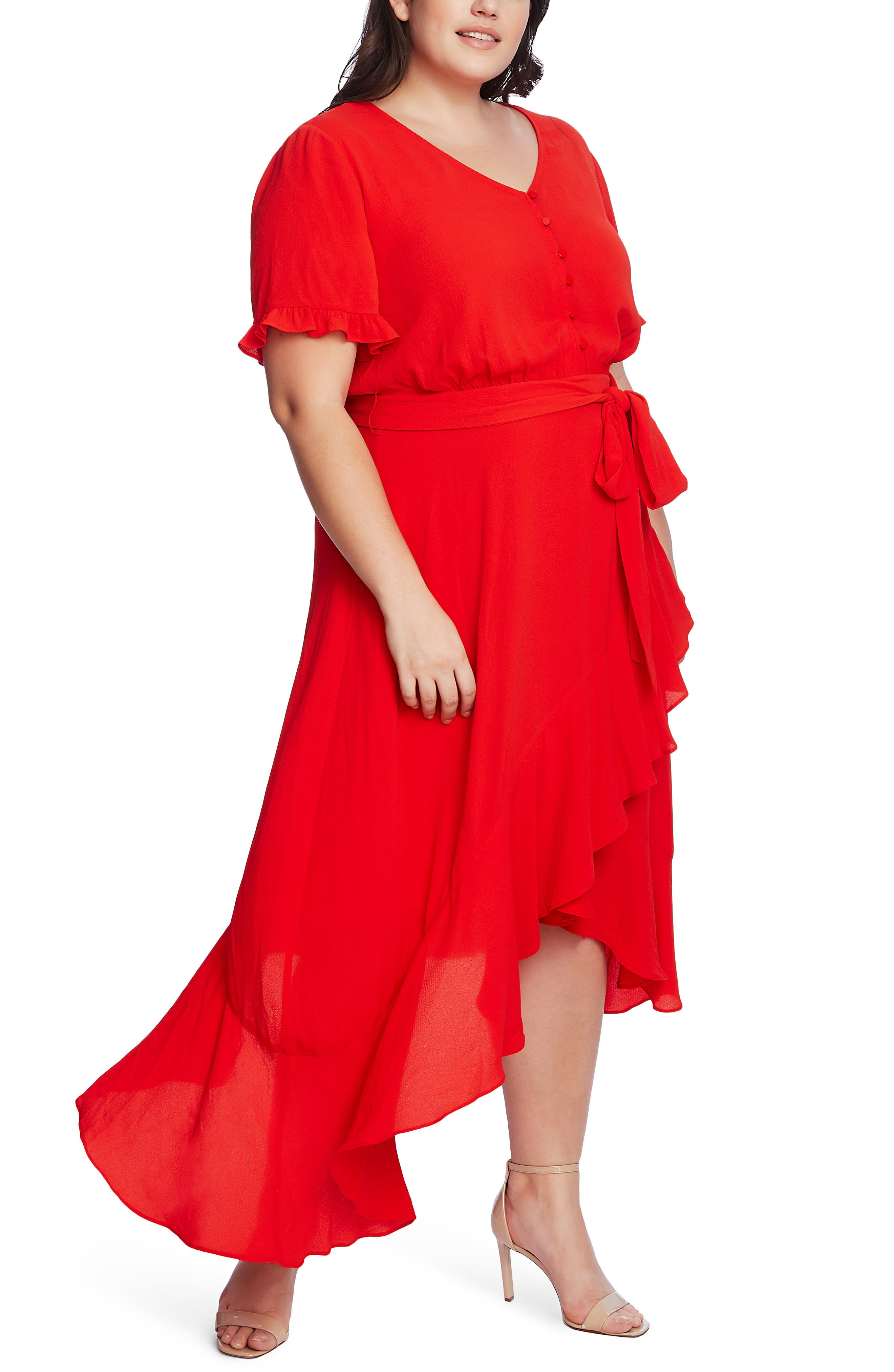 CeCe Ruffle Belted High/Low Dress (Plus Size) | Nordstrom
