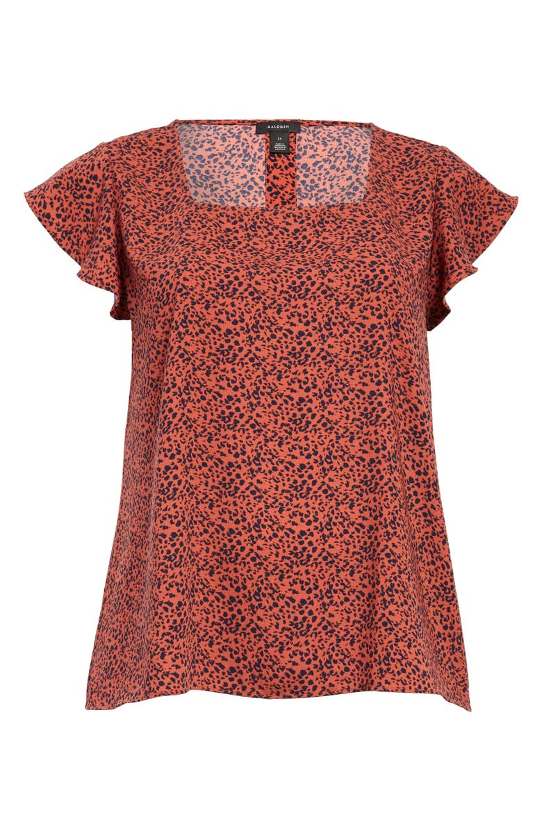 HALOGEN<SUP>®</SUP> Square Neck Flutter Sleeve Top, Main, color, RUST- NAVY LEO DOT