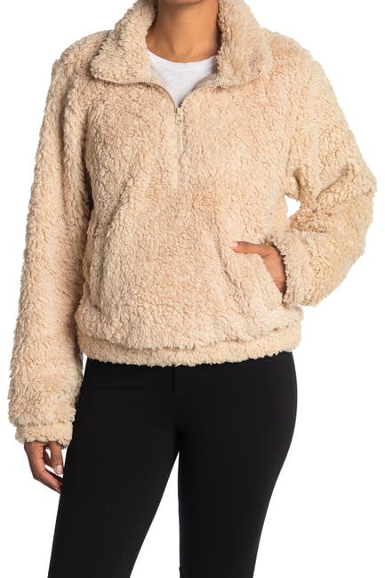 Image of SAGE COLLECTIVE Jetsetter Half Zip Solid Faux Shearling Cropped Jacket