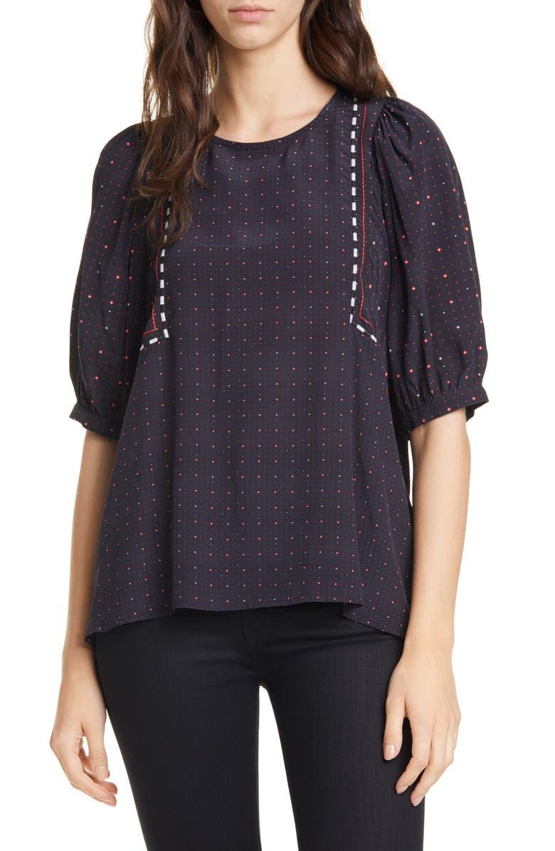 DOLAN Wynonna Foulard Short Sleeve Blouse, Main, color, BLACK FOULARD MIX