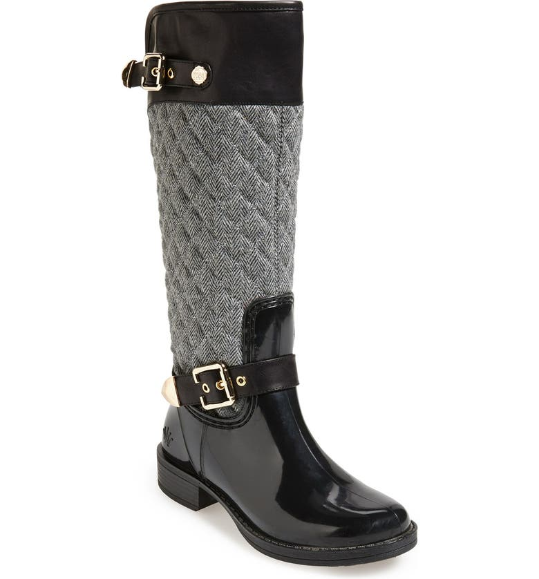POSH WELLIES 'Peacon' Quilted Tall Rain Boot, Main, color, 020