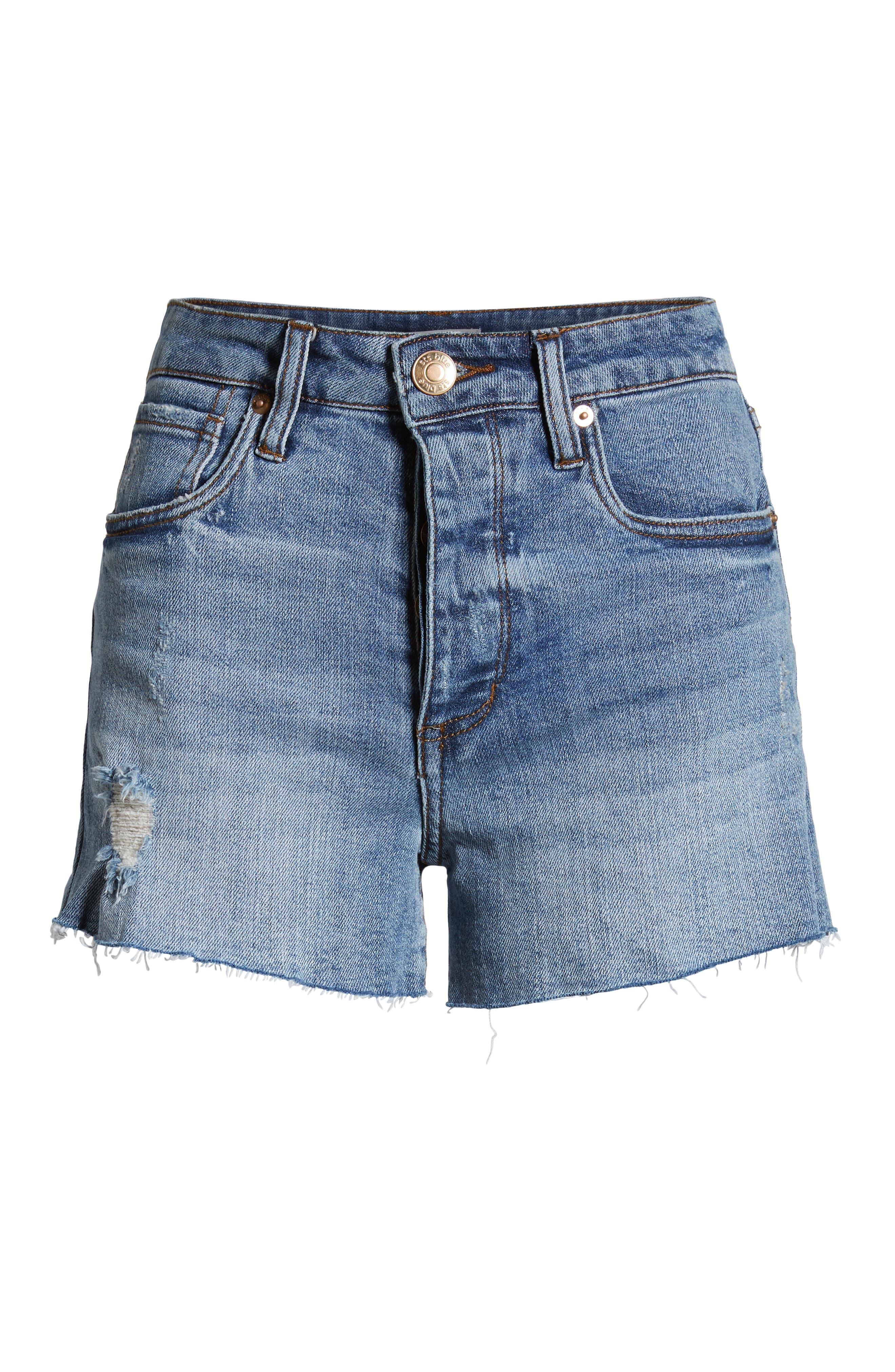 ,                             Kate High Waist Denim Shorts,                             Alternate thumbnail 7, color,                             LIGHT WASH