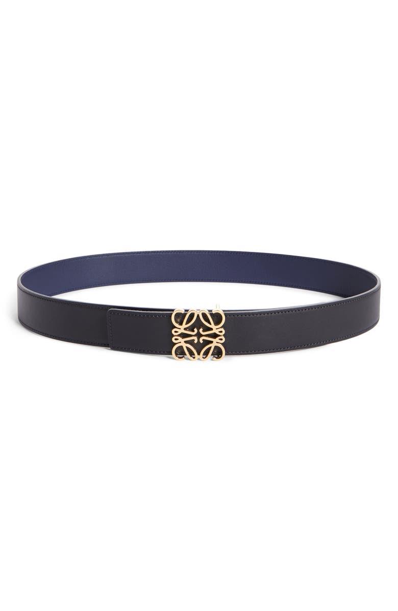LOEWE Anagram Logo Calfskin Leather Belt, Main, color, BLACK/ GOLD/ NAVY