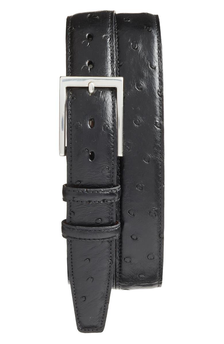 TORINO Ostrich Leather Belt, Main, color, BLACK