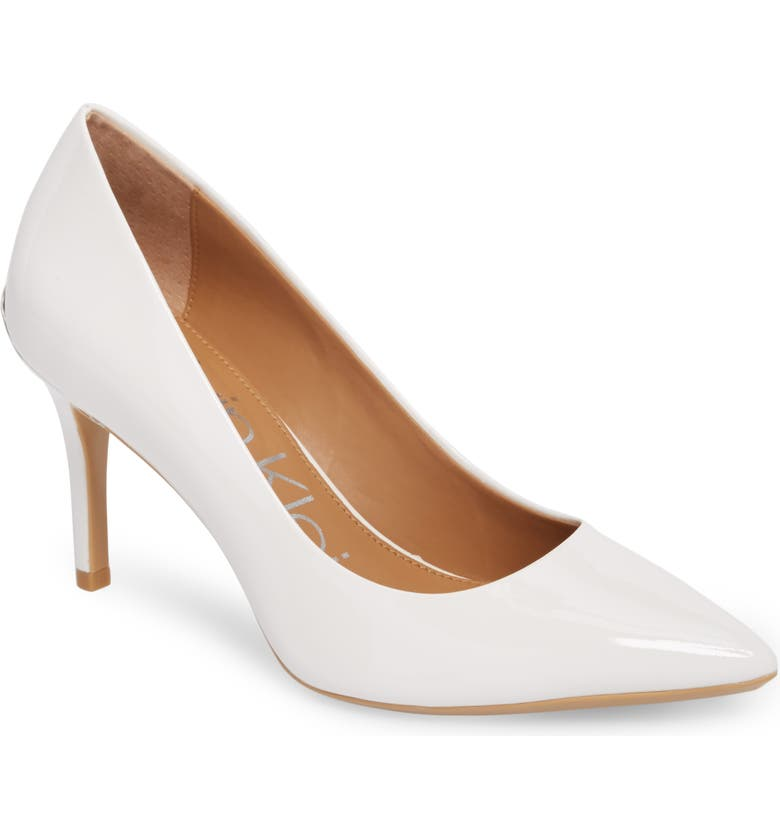 'Gayle' Pointy Toe Pump, Main, color, PLATINUM/ WHITE LEATHER