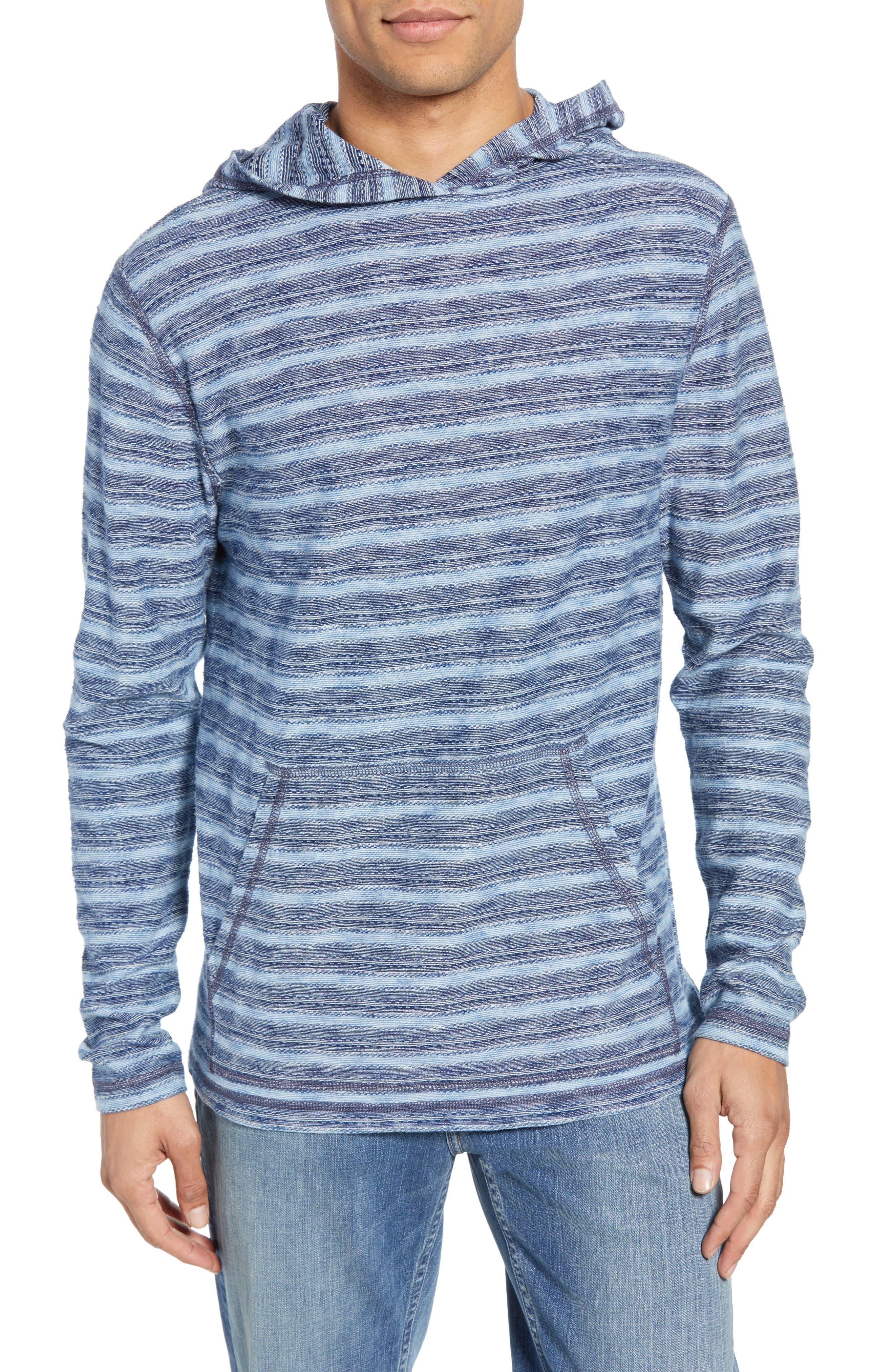 Faherty Regular Fit Stripe Hoodie, Blue