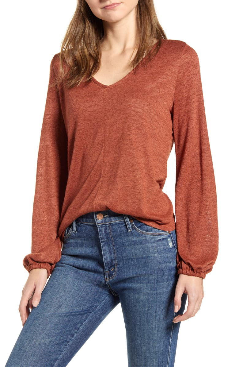 BOBEAU V-Neck Shirred Back Long Sleeve Top, Main, color, BROWN PATINA