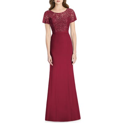 Jenny Packham Embellished Lace Gown, Red