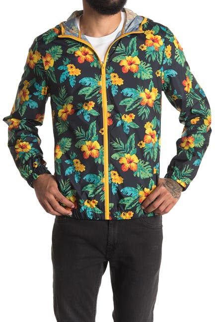 Image of Original Penguin Tropical Floral Print Hooded Zip Jacket