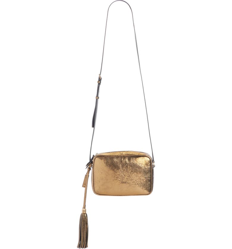 SAINT LAURENT Lou Lamé Camera Bag, Main, color, GOLD OLIVE