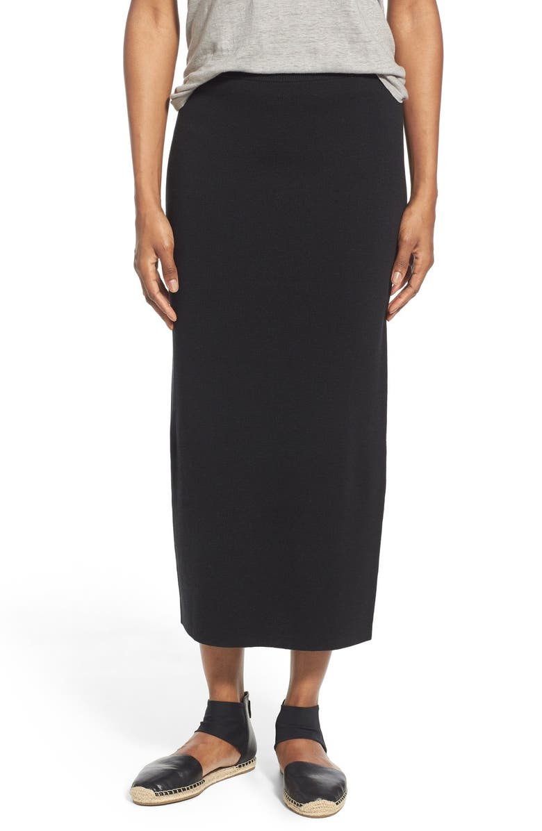 EILEEN FISHER Silk & Cotton Interlock Knit Pencil Skirt, Main, color, 001