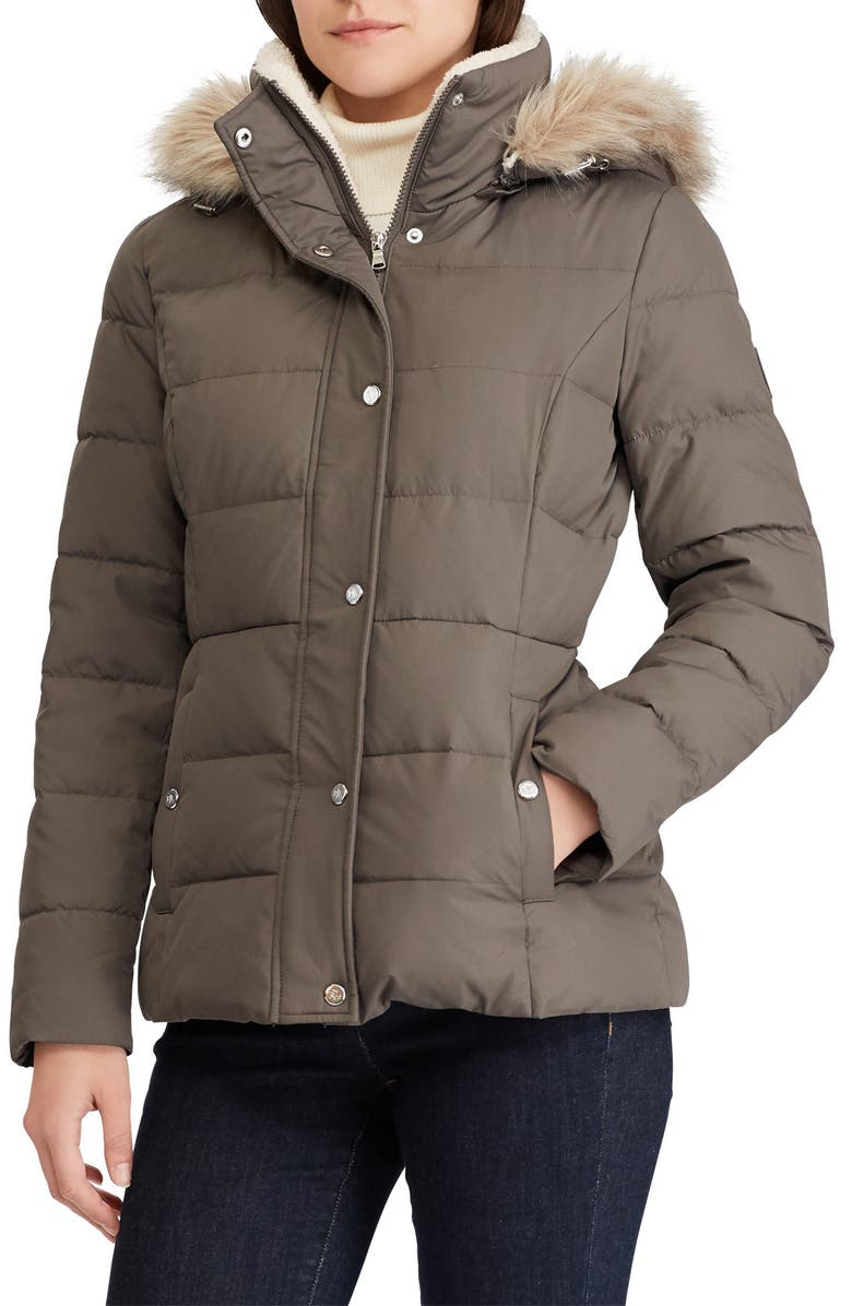 LAUREN RALPH LAUREN Down Puffer Jacket with Faux Fur Trim, Main, color, GREY
