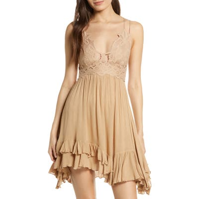 Free People Intimately Fp Adella Frilled Chemise, Beige