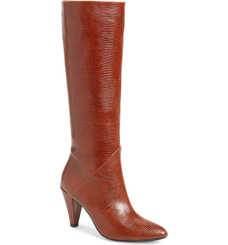 JEFFREY CAMPBELL Jeffery Campbell Candle Knee High Boot, Main, color, TAN LIZARD PRINT