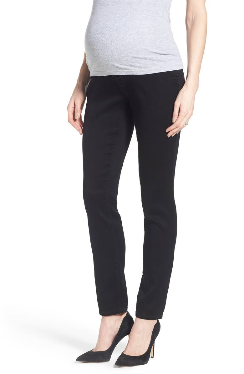1822 DENIM 'Butter' Maternity Skinny Jeans, Main, color, BLACK