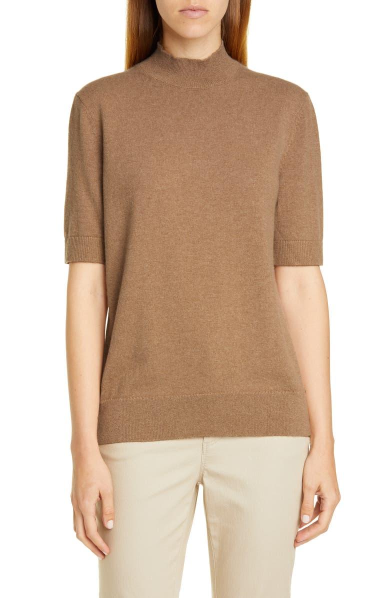 LAFAYETTE 148 NEW YORK Mock Neck Metallic Cashmere Sweater, Main, color, CAMMELLO MELANGE