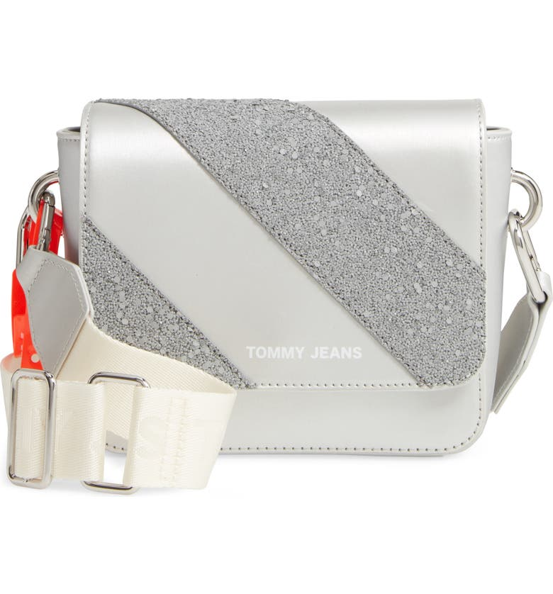 TOMMY JEANS Hype Girl Reflective Flap Crossbody Bag, Main, color, GLITTER