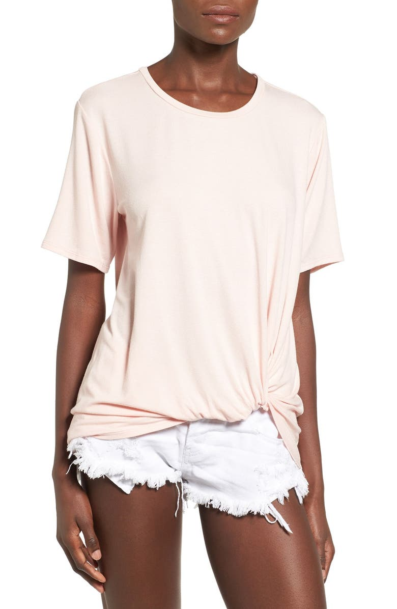 JUNE & HUDSON Knot Front Tee, Main, color, 650