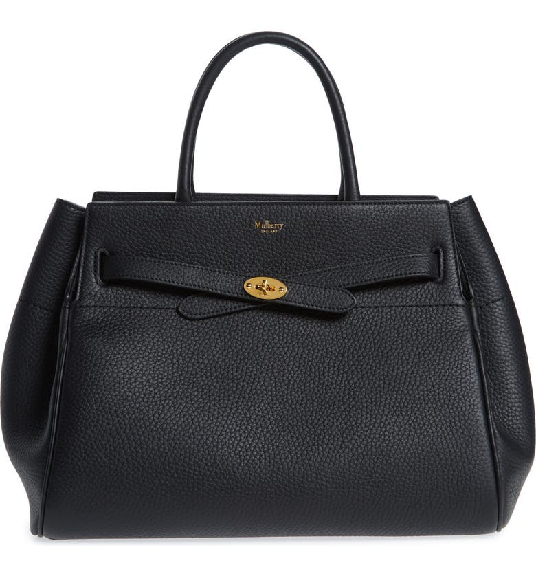 MULBERRY Belted Bayswater Grained Leather Satchel, Main, color, BLACK