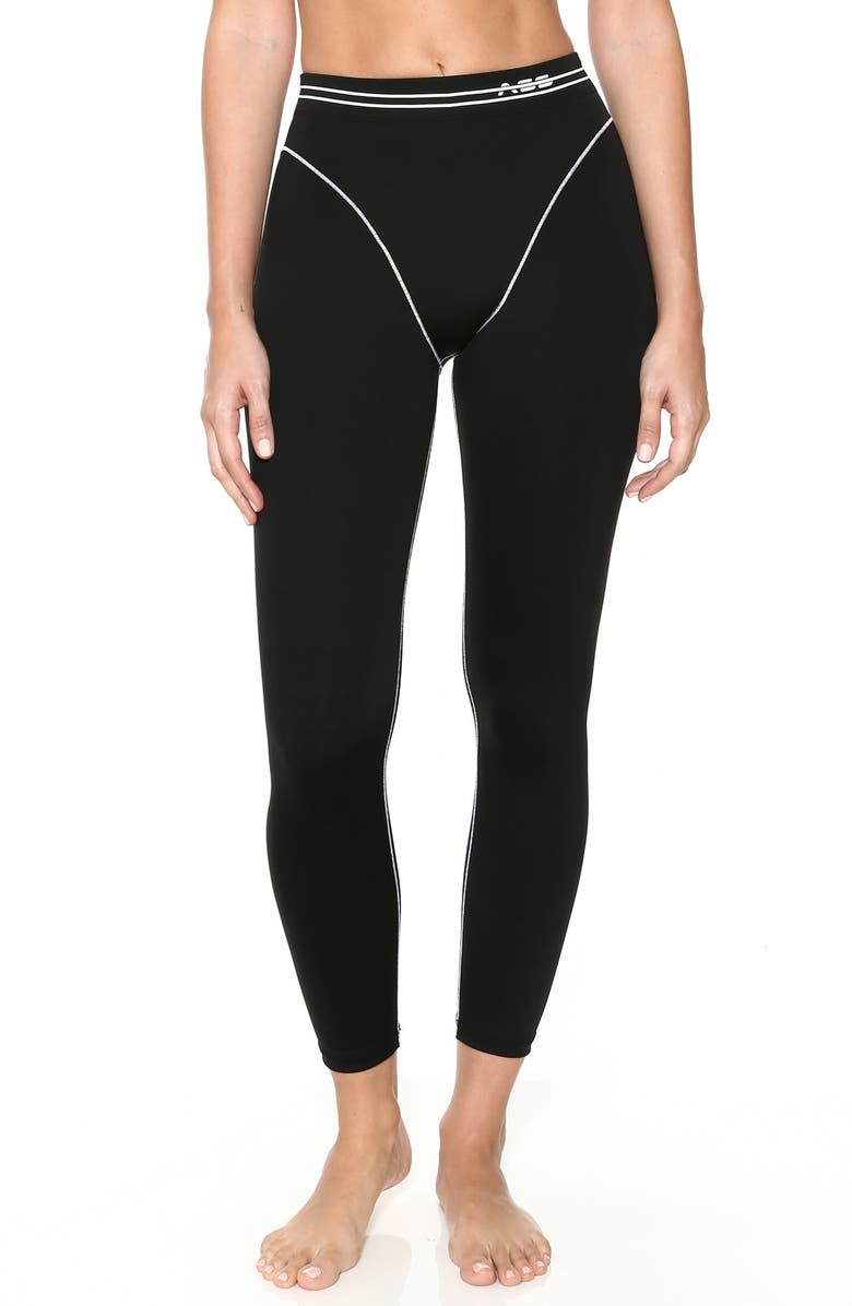 ADAM SELMAN SPORT French Cut Leggings, Main, color, BLACK