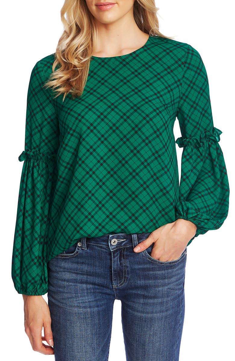 CECE Elegant Plaid Puffed Sleeve Blouse, Main, color, RICH KELLY