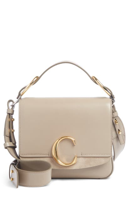 Chloé Bags SMALL C CONVERTIBLE LEATHER BAG - GREY