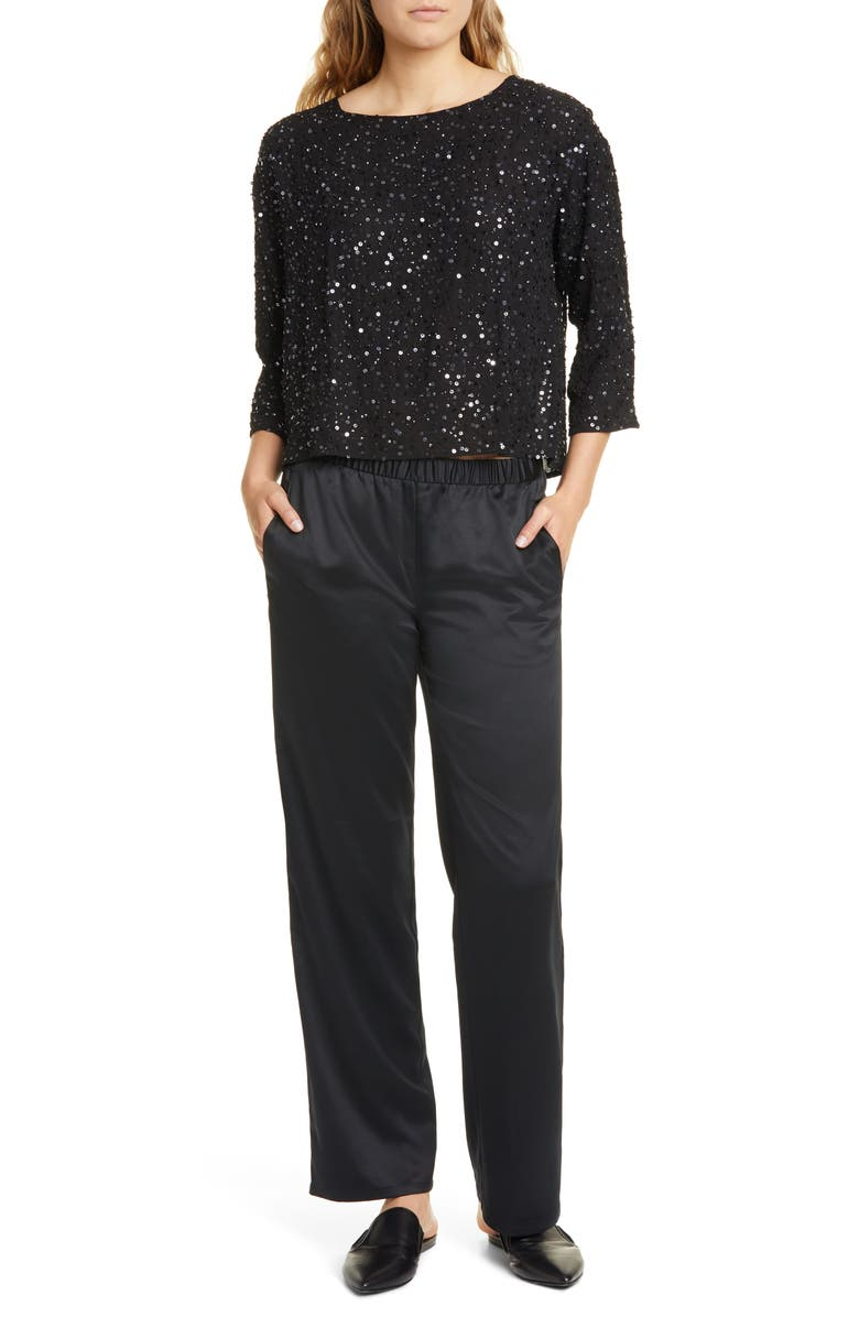 EILEEN FISHER Sequin Silk Box Top, Main, color, 001