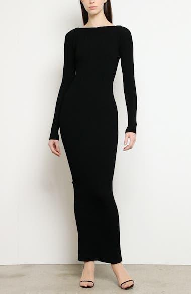 Zipper Neck Long Sleeve Ribbed Maxi Sweater Dress, video thumbnail