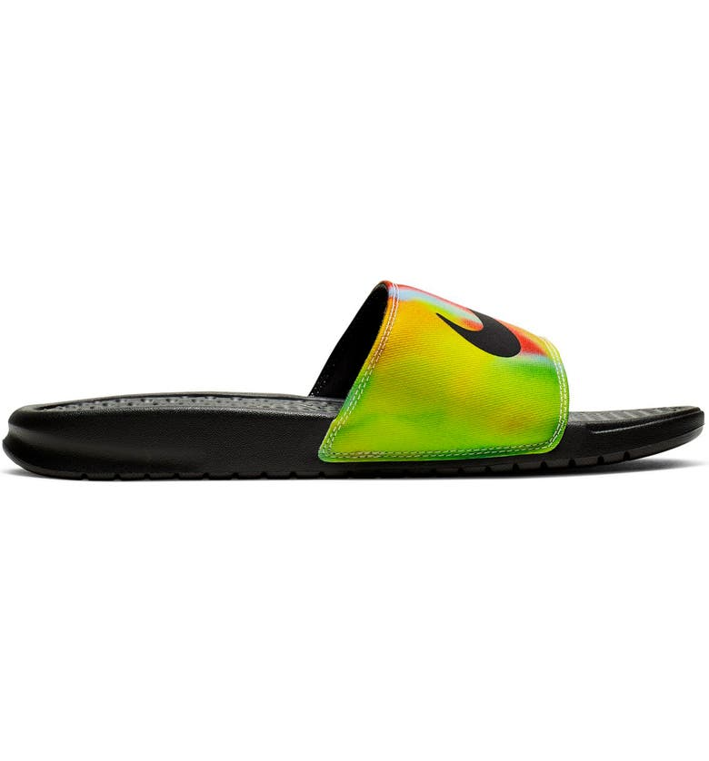 NIKE Benassi JDI Tie Dye Sport Slide, Main, color, BLACK/ PSYCHIC PURPLE