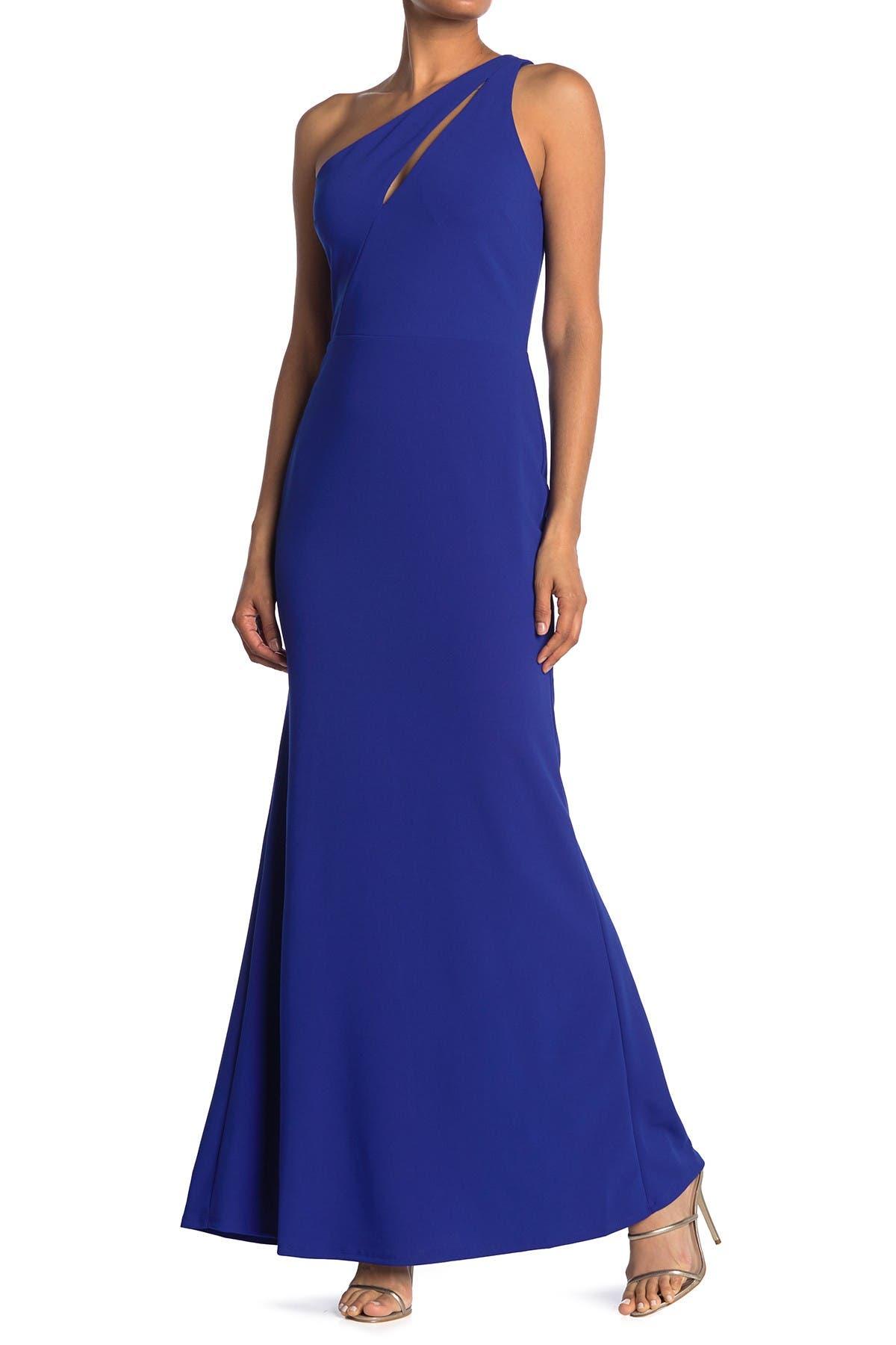 Image of bebe Scuba Crepe Cutout One Shoulder Dress