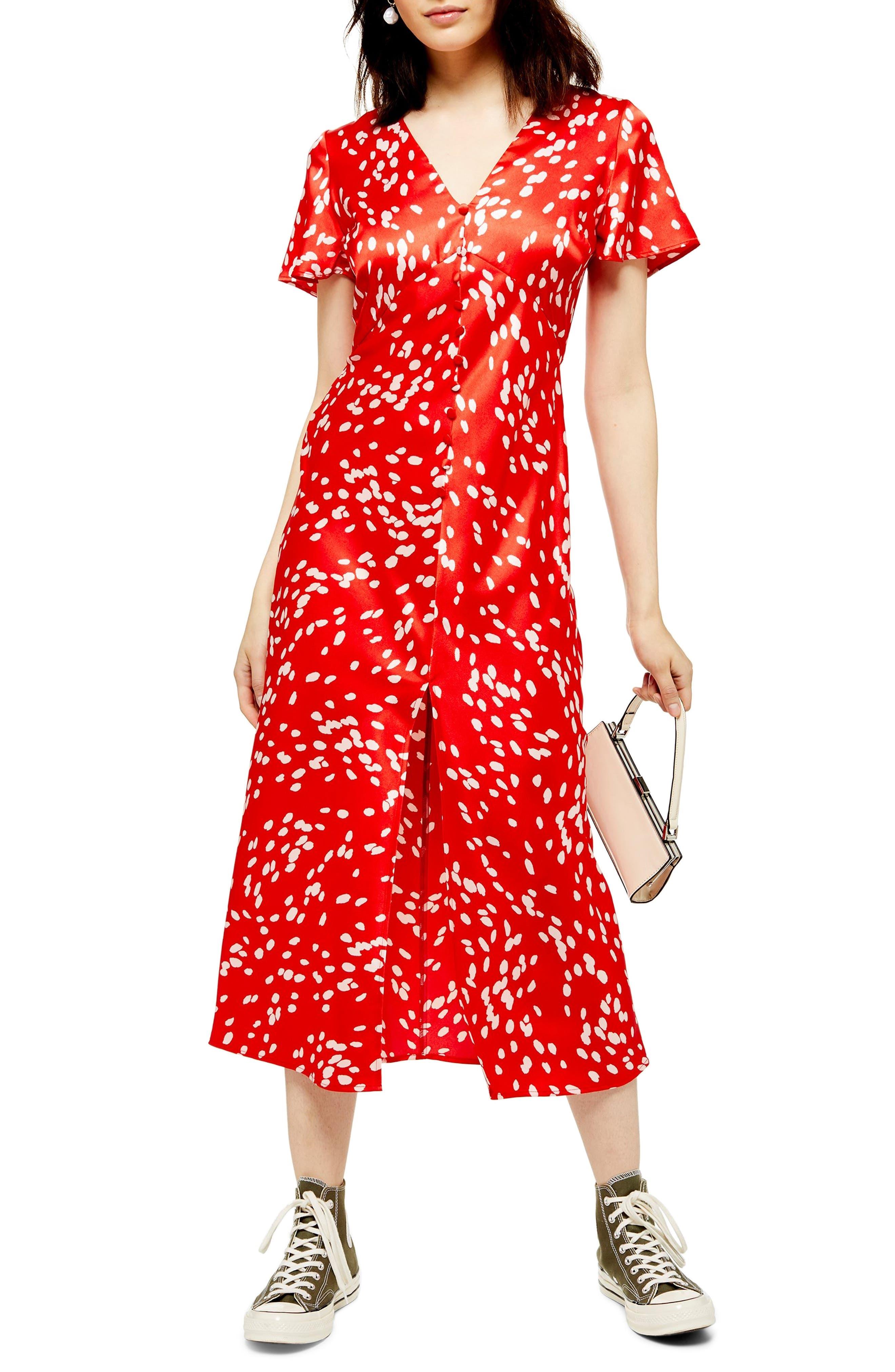 Topshop Polka Dot Midi Dress, US (fits like 0) - Red