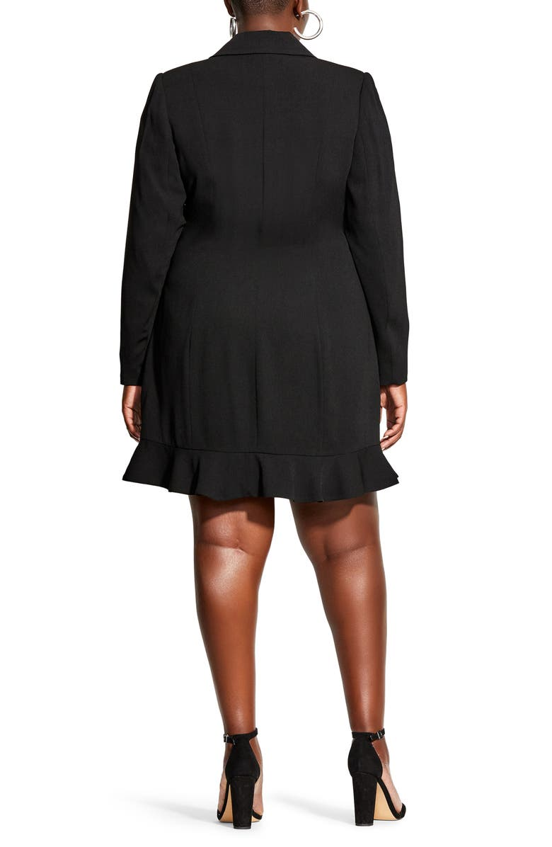 City Chic Ruffle Long Sleeve Tuxedo Dress (Plus Size) Nordstrom