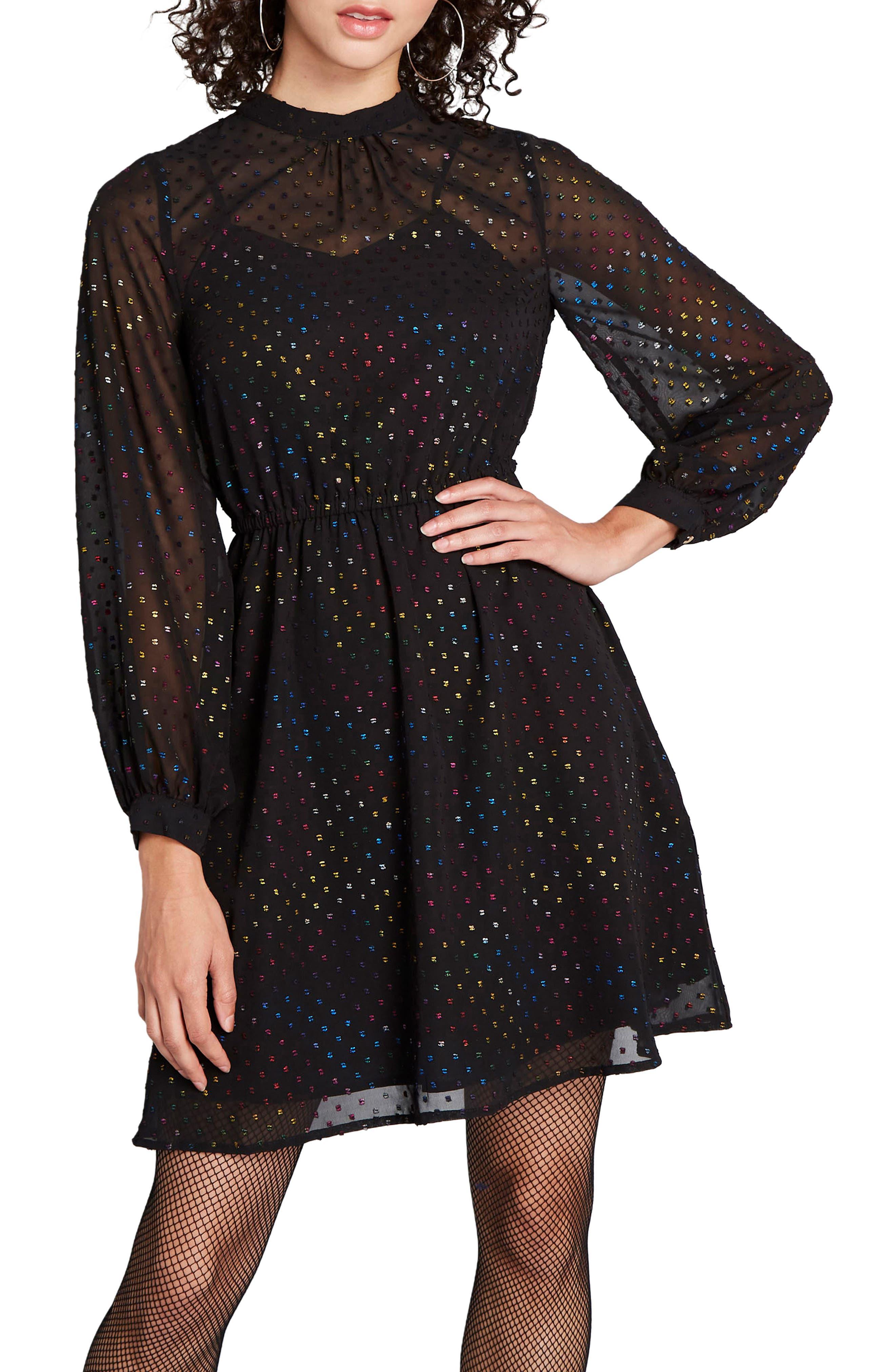 70s Dresses – Disco Dress, Hippie Dress, Wrap Dress Womens Modcloth Rainbow Swiss Dot Long Sleeve Fit  Flare Dress $99.00 AT vintagedancer.com