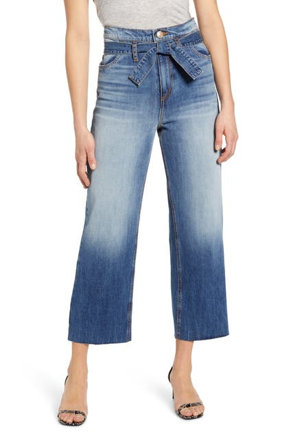 Image of STS BLUE Belted High Waist Wide Leg Crop Jeans