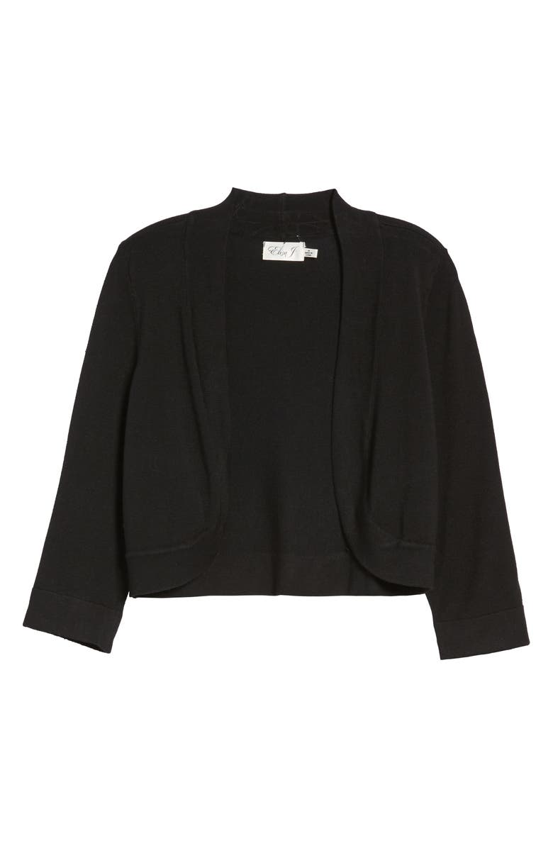 ELIZA J Open Front Bolero Cardigan, Main, color, BLACK