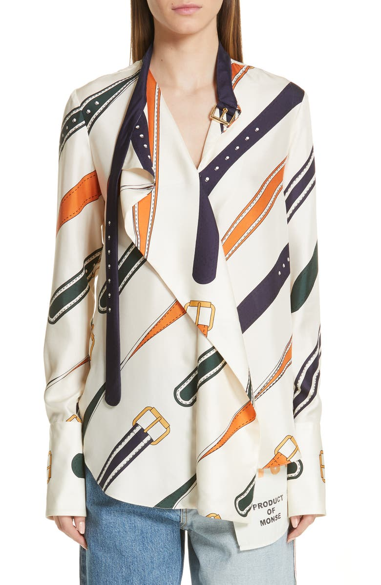 MONSE Belt Print Silk Blouse, Main, color, IVORY MULTI