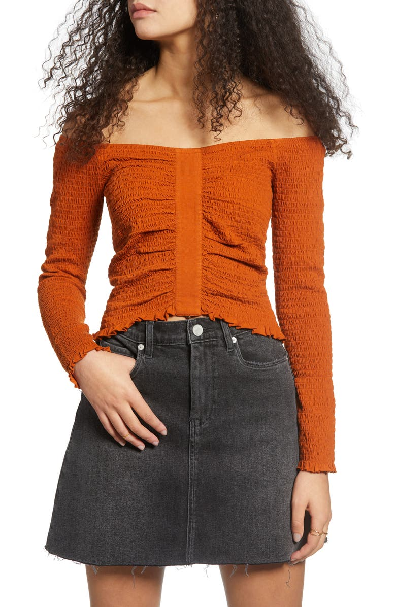 BP. Off the Shoulder Long Sleeve Smocked Top, Main, color, RUST UMBER
