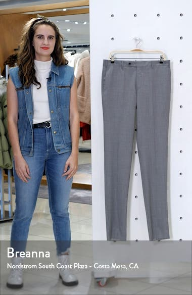 Curtis Flat Front Solid Stretch Wool Trousers, sales video thumbnail