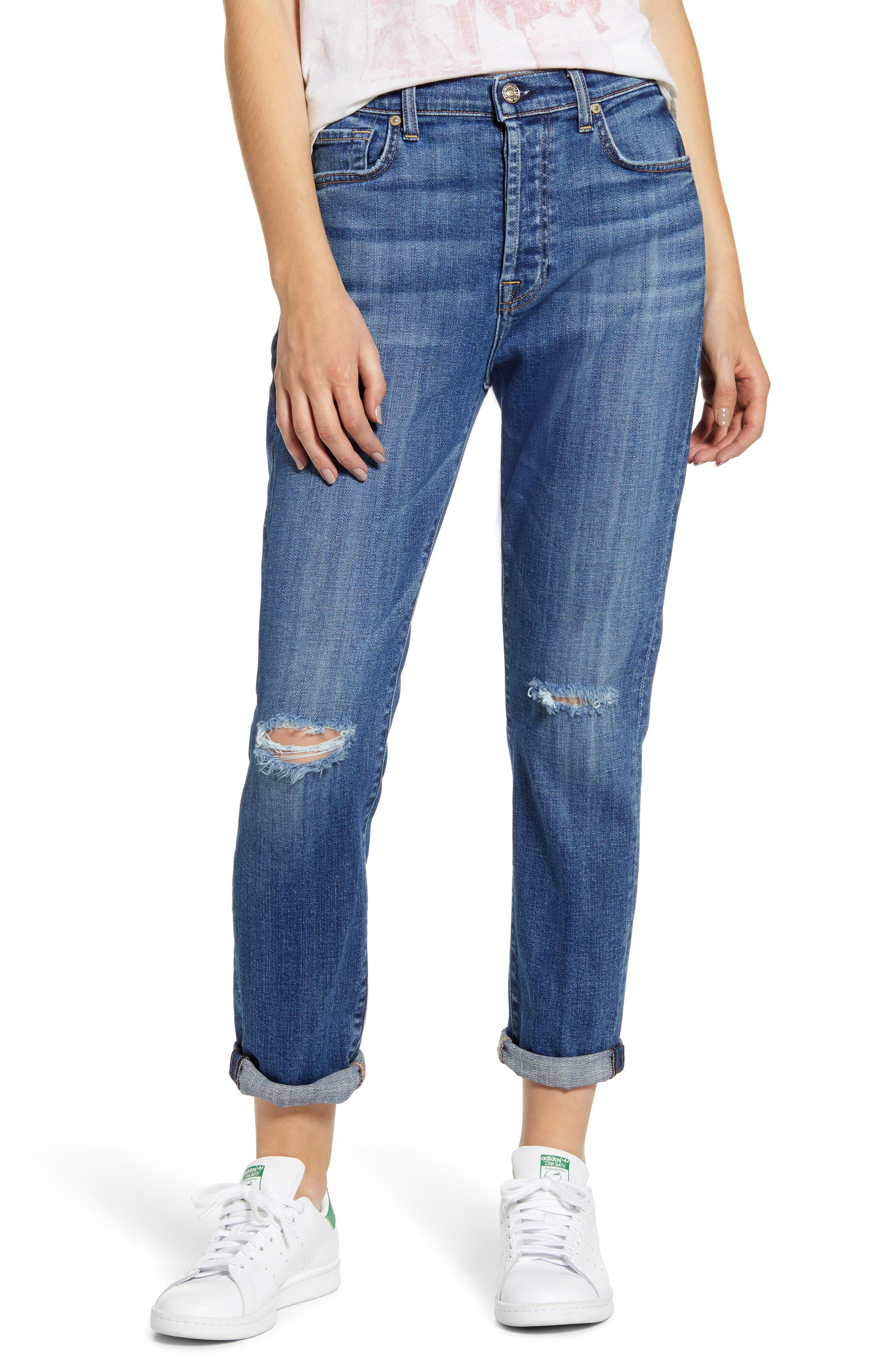 7 For All Mankind® Josefina High Waist Ripped Crop Jeans (Broken Twill Athens)
